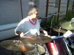 Jeff drumming for The Chilis Band: Jeff drumming for The Chilis Band at the 2011 Back Yard BBQ at The Hut on 4th Ave.