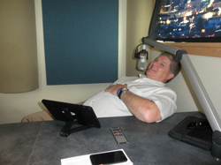 Jeff Relaxing in the ESPN Studio: A hard day's labor for Jeff!!!