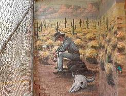 Local Art: Cowboy mural at Farmer Johns